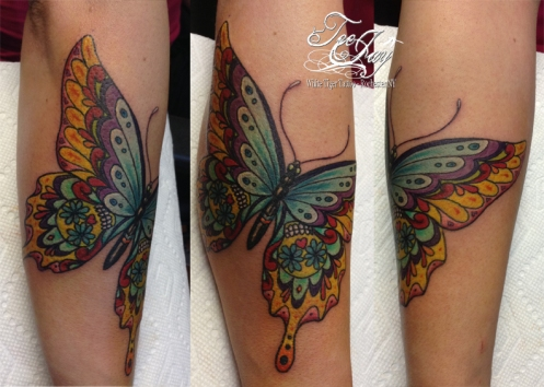 sugarskull butterfly tattoo