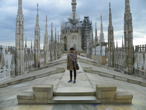Caryl on the roof of Duomo di Milano
