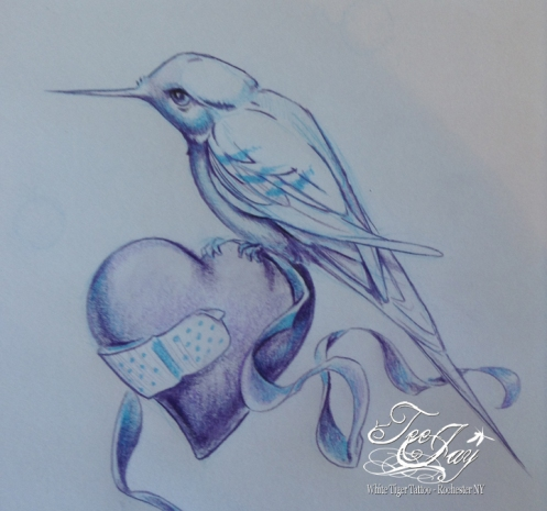 drawing of bird on heart with band-aid