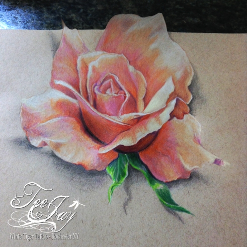 dimensional rose drawing