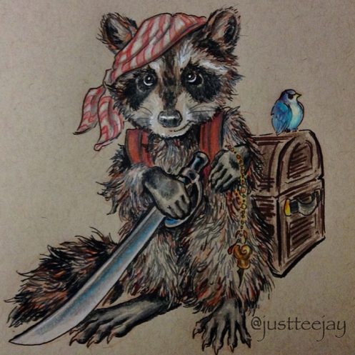 pirate raccoon drawing