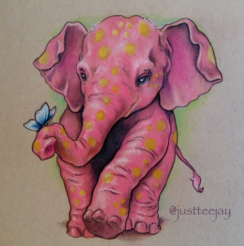 Pink Elephant (with golden spots)