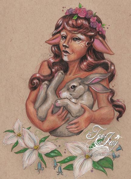 female faun and rabbit