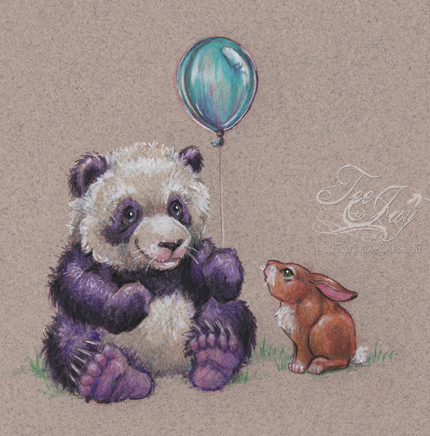 purple panda with balloon and bunny friend