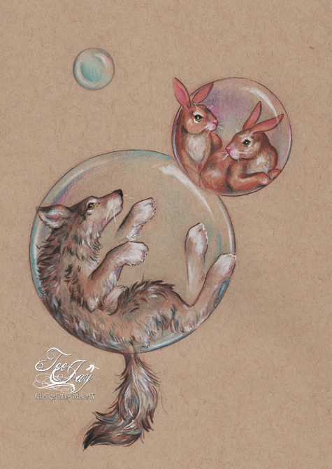 wolf and bunnies in bubbles