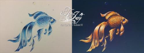 inverted goldfish drawing