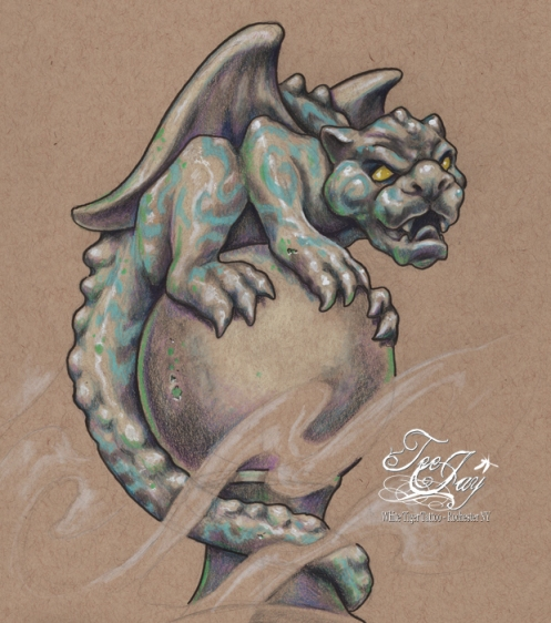 gargoyle on shpere drawing