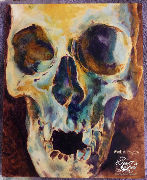 underpainting of skull (in oils)
