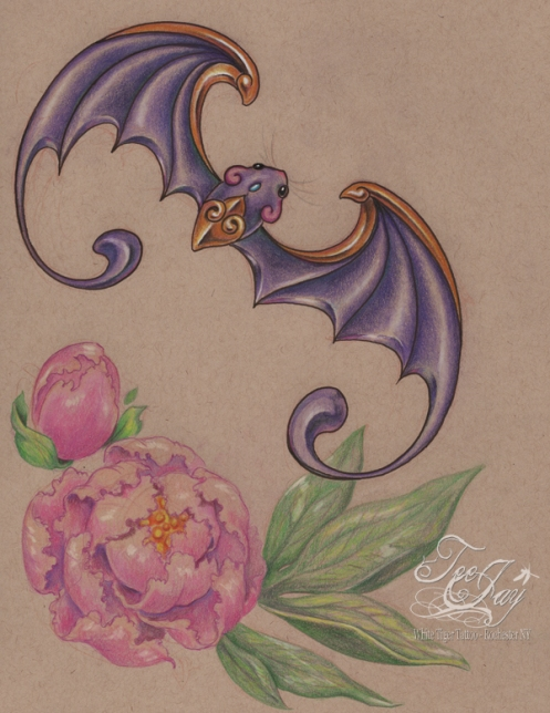 fu bat and peonies
