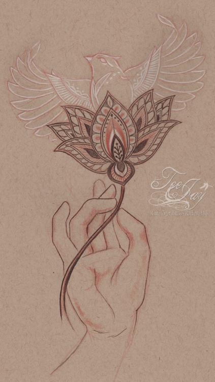 bird lotus hand