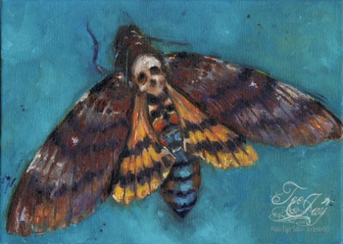 deaths head moth painting