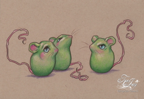 three green mice