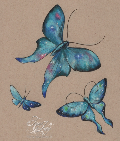 starry blue butterflies