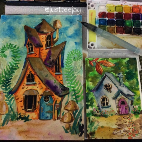 watercolor fairy houses