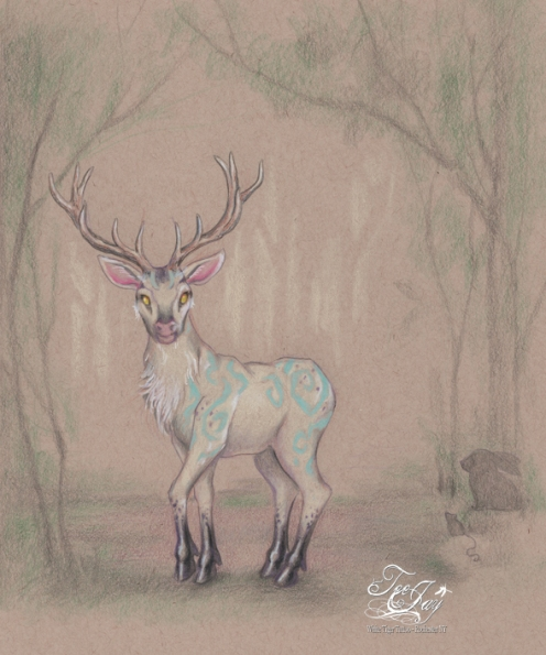 stag in woodland glade drawing