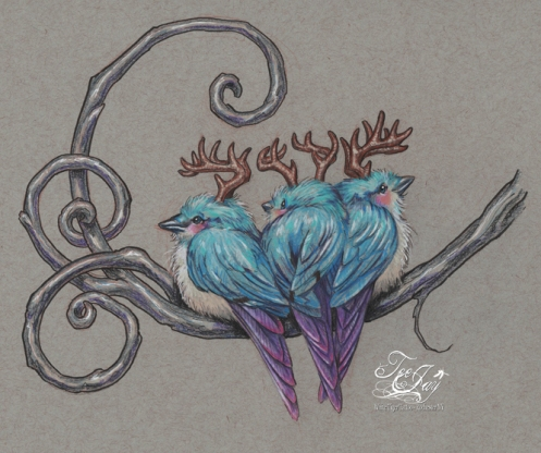 three antlered blue birds