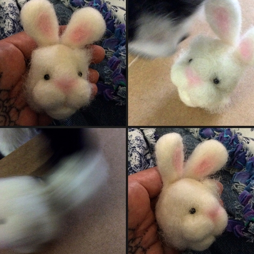 needle felted rabbit head