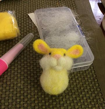 needle felting bumble bunny