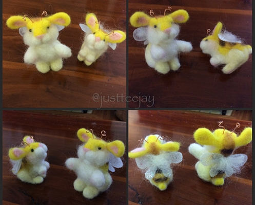 needle felted bumble bunnies