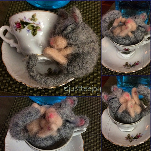 needle felted mouse in tiny tea cup