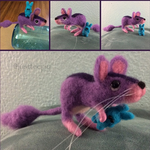 needle felted kangaroo mouse and friend