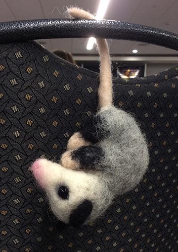needle felted opossum