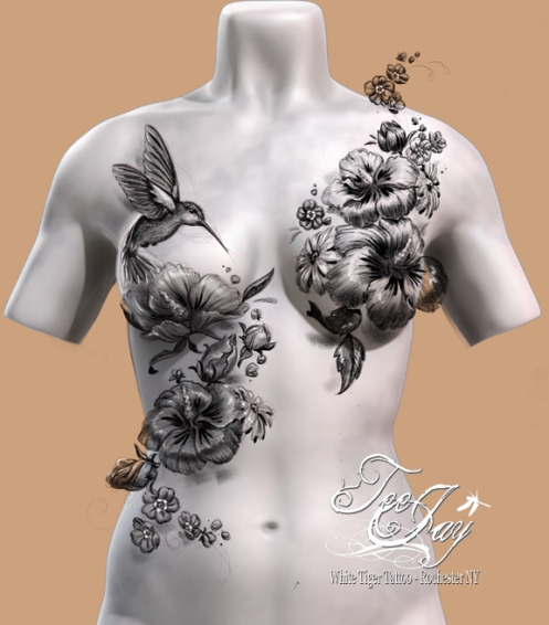 decorative mastectomy cover up tattoo design
