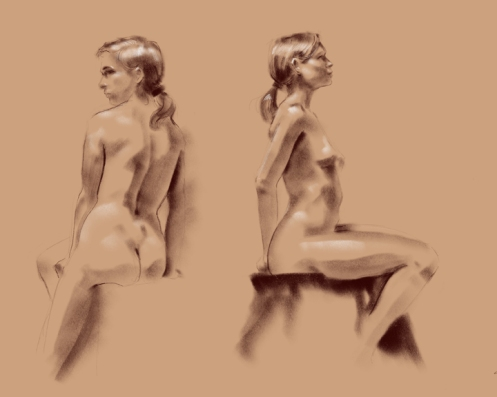 digital figure drawing seated female