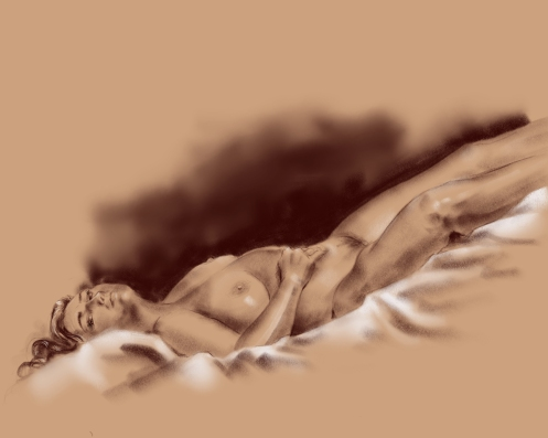 figure drawing inverted reclining female
