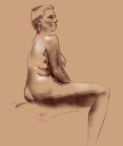 seated figure drawing