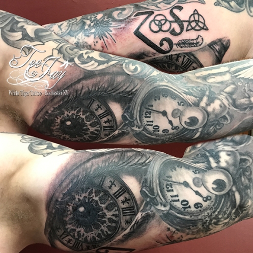 Chad's eye tattoo (underarm)