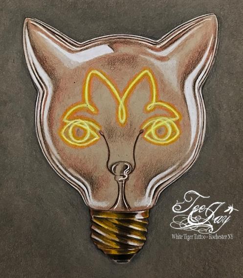 Edison bulb cat