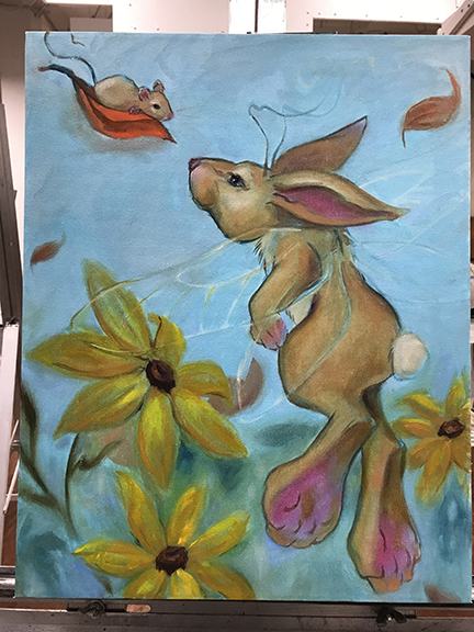 flying bunny painting first sesion