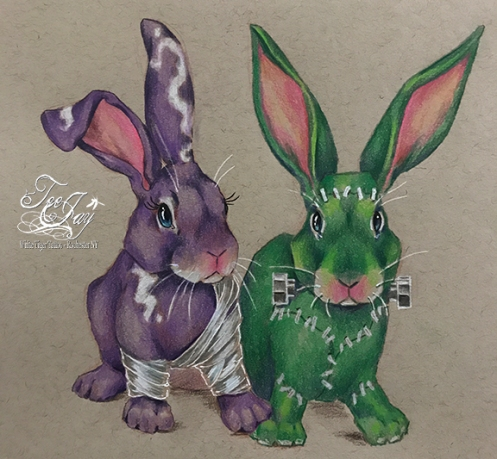 Frankenstein Monster Bunny and Bride