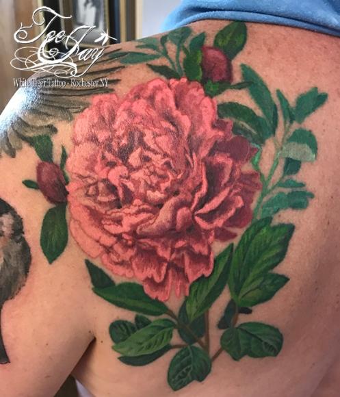 healed peony tattoo