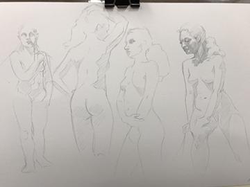 silverpoint figure gestures