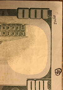 pocho stamp on $100 bill, SM heart of hundred
