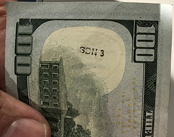 SDN 3 on $100 bill