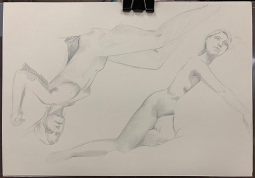 figure drawing silverpoint on plike