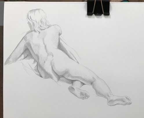figure drawing female model silverpoint on plike