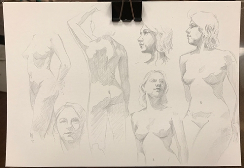 gesture drawings silverpoint on plike paper