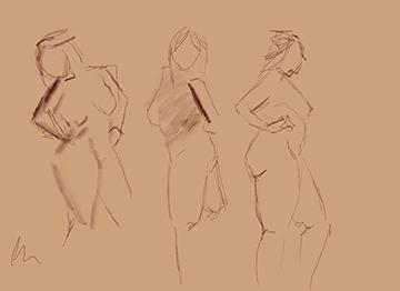 one minute gesture drawings female model
