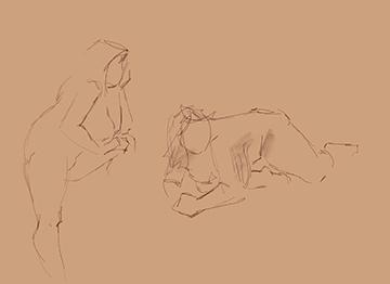 one minute figure gesture drawings female model