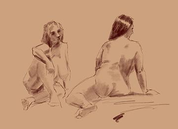 five minute gesture drawings female model