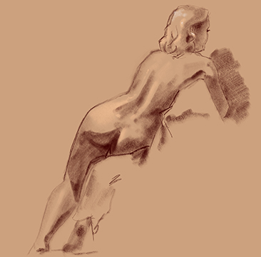 figure study female in chair from back
