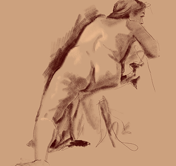 15 minute drawing female model back twisted