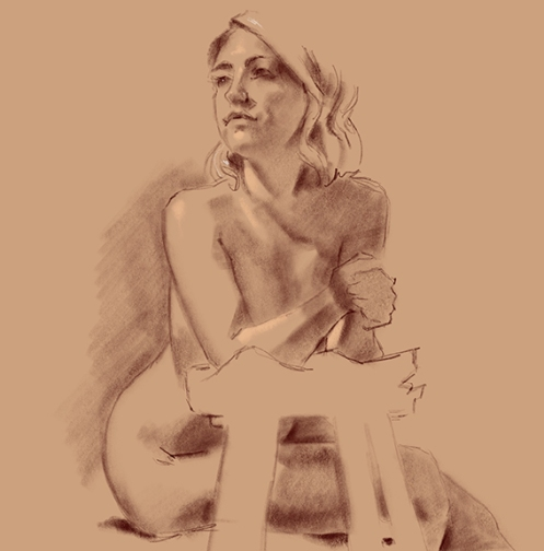 figure study female model leaning forward on stool