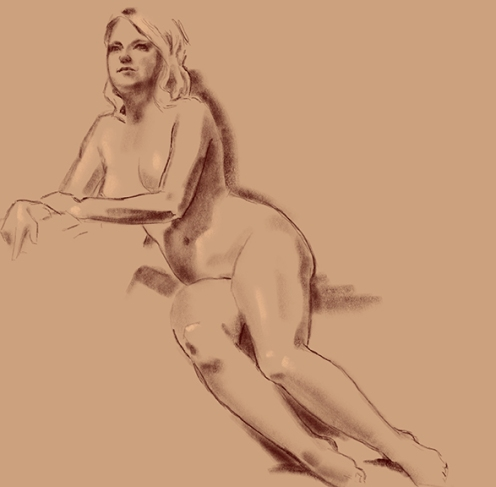 figure study model leaning in chair female