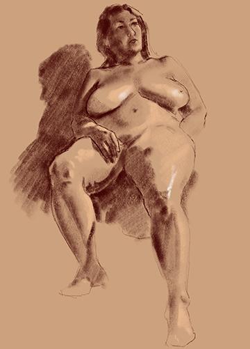 seated female model figure drawing