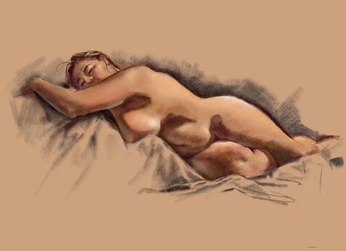 life drawing female model lying down